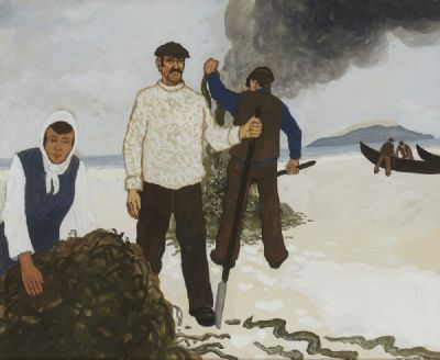 BURNING THE KALE, CONNEMARA by James MacIntyre Cullen  at deVeres Auctions
