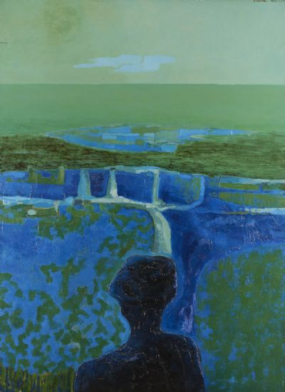 LANDSCAPE IN BLUES AND GREEN by Arthur Armstrong RHA at deVeres Auctions