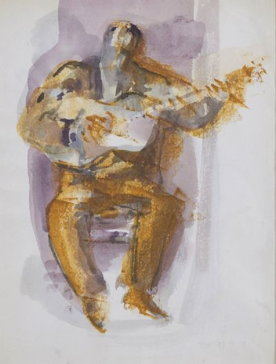 THE GUITAR PLAYER by George Campbell RHA RUA at deVeres Auctions