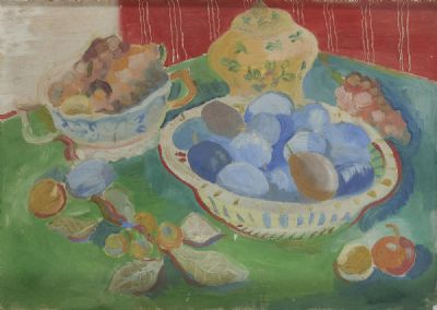 STILL LIFE WITH PLUMS by Father Jack P Hanlon  at deVeres Auctions
