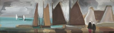 TWO FIGURES BESIDE BOATS by Markey Robinson  at deVeres Auctions