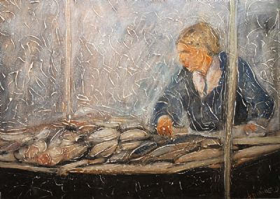 FISH SELLER by John Dunne  at deVeres Auctions