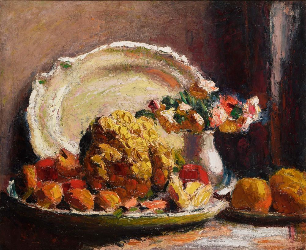 Lot 13 - STILL LIFE WITH CAULIFLOWER, VASE OF FLOWERS AND A PLATTER, (c.1923-26) by Roderic O'Conor