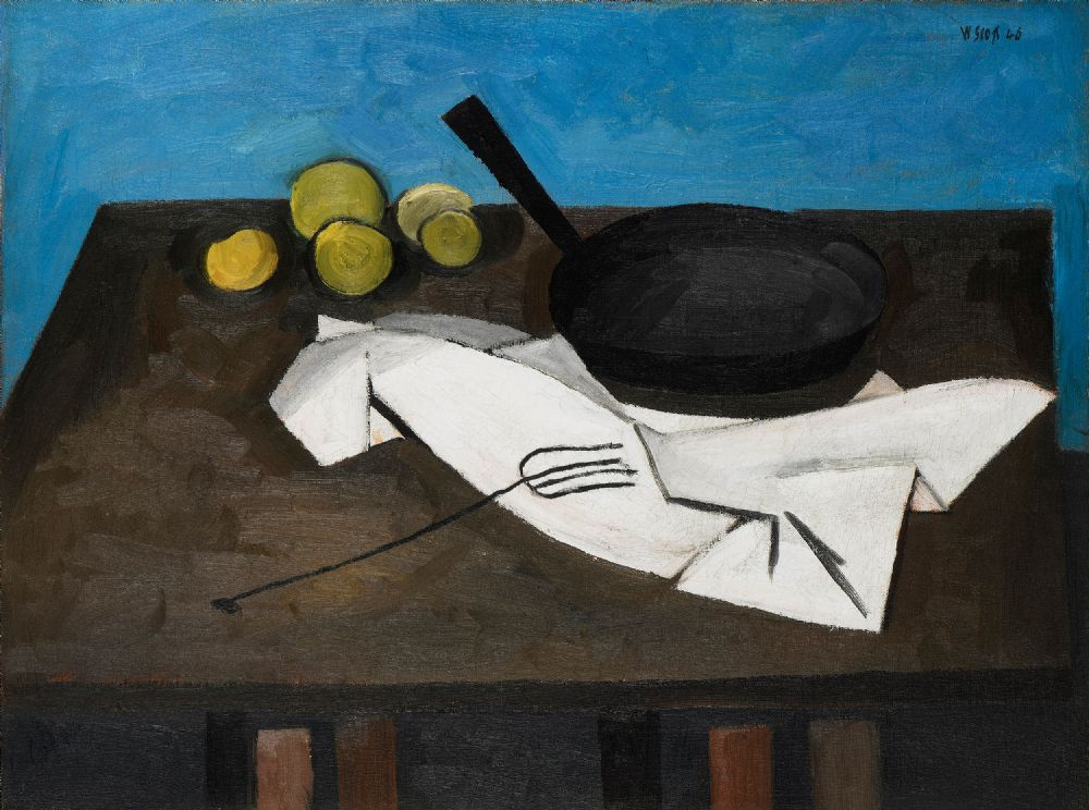 Lot 19 - STILL LIFE WITH FRYING PAN (1946) by William Scott CBE RA