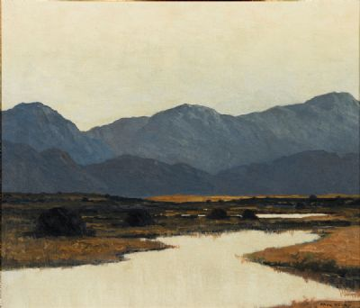 TURF STACKS, POOL AND MOUNTAINS, CO. KERRY by Paul Henry  at deVeres Auctions